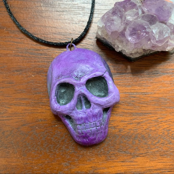 SALE! 💜NEW! Large Clay Skull Pendant Necklace 💜